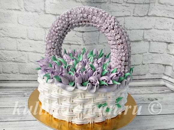 торт из крема корзинка