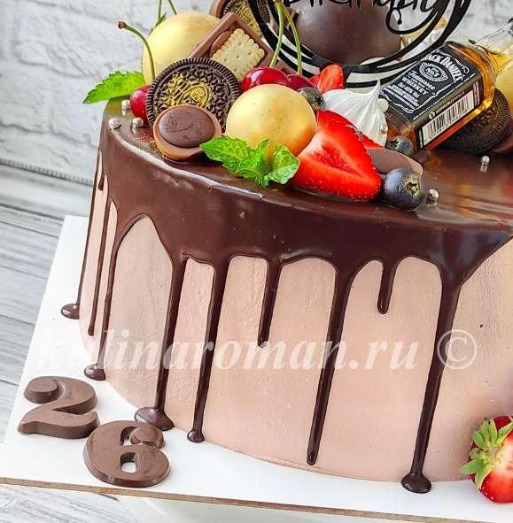 шоколадные подтеки на торте