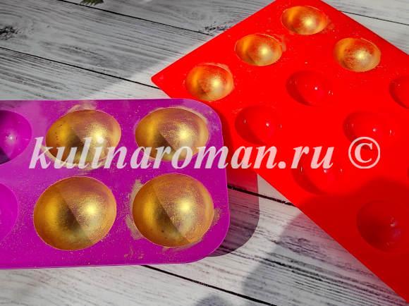 как сделать золотые шары из шоколада