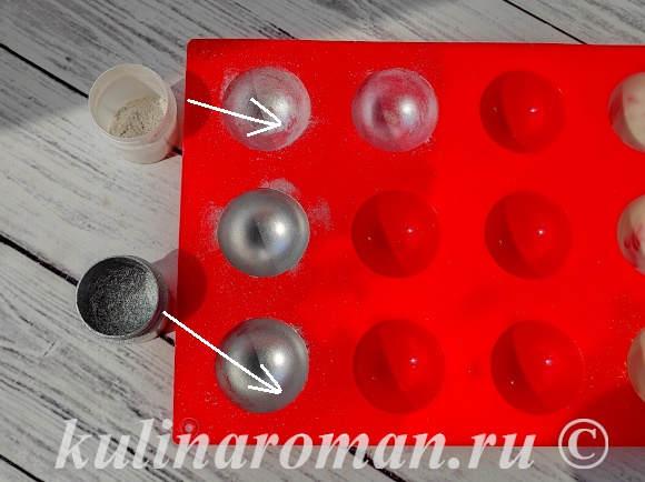серебряные шары из шоколада